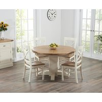 Torino Oak and Cream Extending Pedestal Dining Table with Ca
