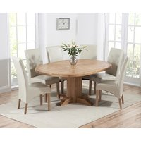 Torino Solid Oak Extending Pedestal Dining Table with Cannes