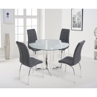 Vidre 120cm Round Glass Dining Table with Calgary Chairs