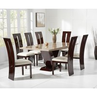 Verbier 200cm Brown V Pedestal Marble Dining Table with Verbier Chairs