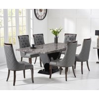 Verbier 200cm Grey V Pedestal Marble Dining Table with Angelica Chairs