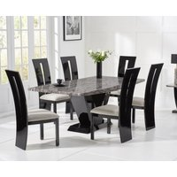 Verbier 200cm Grey V Pedestal Marble Dining Table with Verbier Chairs