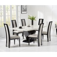Product photograph showing Verbier 160cm White And Black V Pedestal Marble Dining Table With Raphael Chairs