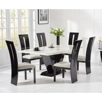Verbier 200cm White V Pedestal Marble Dining Table with Verbier Chairs
