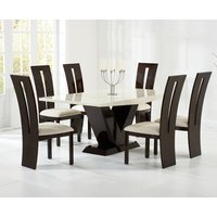 Verbier 200cm Cream and Brown V Pedestal Marble Dining Table with Verbier Chairs
