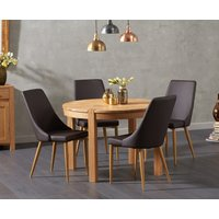 Verona 110cm Oak Round Dining Table with Ashbourne Faux Leather Chairs