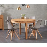 Product photograph showing Verona 110cm Oak Round Dining Table With Ophelia Faux Leather Round Leg Chairs