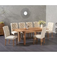 Read more about Verona 120cm extending solid oak table with candice fabric chairs
