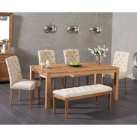 Verona 150cm Solid Oak Dining Table with Candice Fabric Chairs and Cora Cream Fabric Bench