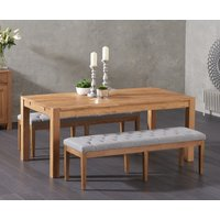 Verona 180cm Solid Oak Dining Table with Cora Grey Fabric Benches