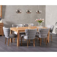 Read more about Verona 180cm solid oak dining table with imogen fabric chairs