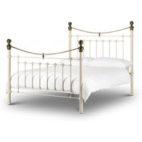Product photograph showing Victoria Stone White Brass Double Bed