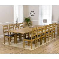 Rustique 220cm Solid Oak Extending Dining Table with