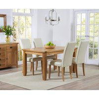 Read more about Yateley 140cm oak dining table with cream albany chairs