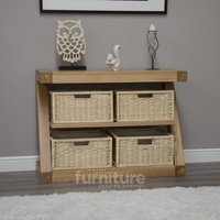 Product photograph showing Z Solid Oak Designer Basket Console Table