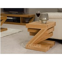 Product photograph showing Z Solid Oak Nest Of 3 Tables