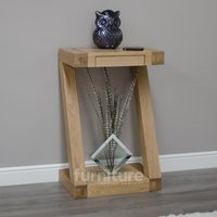 Product photograph showing Z Solid Oak Designer Small Console Table