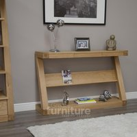 Read more about Z solid oak designer wide hall table with shelf