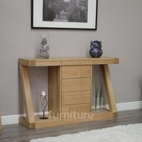 Read more about Z solid oak designer console table with drawers