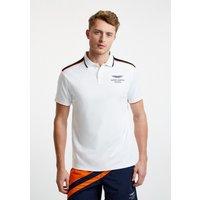 Aston Martin Racing Men's Stripe Detail Polo Cotton Shirt | White
