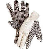 Baumwollköper-Handschuh, schwarz, mit Strickbund, genoppt