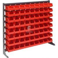 Lagerbox Regal mit 72 roten Lagerboxen Größe 4 Höhe: 90 cm Breit
