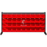Lagerbox Regal mit 36 roten Lagerboxen Größe 4 Höhe: 47 cm Breit