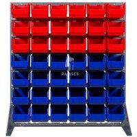 Lagerbox Regal mit 18 roten und 24 blauen Lagerboxen Größe 3 Höh