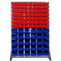 Lagerbox Regal mit 63 roten Lagerboxen Größe 4 und 30 blauen Lag