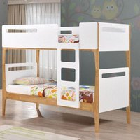 Mason White and Oak Wooden Bunk Bed Frame Only - 3ft Single