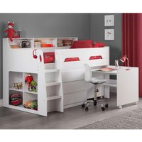 Jupiter White Wooden Mid Sleeper Cabin Bed Frame - 3ft Single