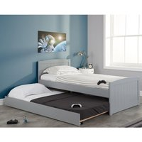 Beckton Grey Wooden Bed and Trundle Guest Bed Frame - 3ft Single