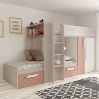 Barca Pink and Oak Wooden Bunk Bed Frame - EU Single