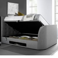 Barnard Grey Fabric Ottoman TV Bed Frame - 6ft Super King Size