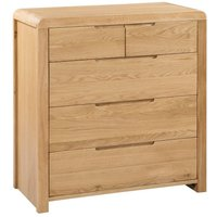 Curve Oak 3+2 Drawer Wooden Chest