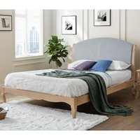 Ritz Grey Fabric and Oak Wooden Bed Frame - 4ft6 Double