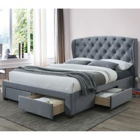 Hope Grey Velvet Fabric 4 Drawer Winged Storage Bed Frame - 4ft6 Double