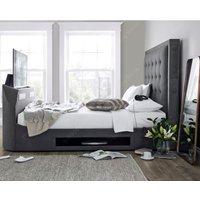 Titan Berwick Grey Fabric TV Media Bed Frame - 5ft King Size