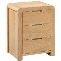 Curve Oak 3 Drawer Wooden Bedside Table