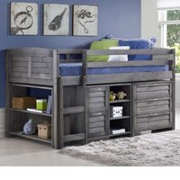 Cosy Grey Wooden Mid Sleeper Storage Bed with Left Ladder - 3ft Single