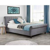 Opulence Grey Velvet Fabric Scroll Sleigh Bed Frame - 4ft6 Double
