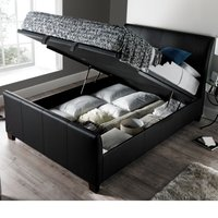 Allendale Black Faux Leather Ottoman Storage Bed Frame - 5ft King Size
