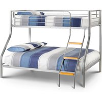 Atlas Silver Finish Metal Triple Sleeper Bunk Bed Frame - 3ft Single Top and 4ft6 Double Bottom