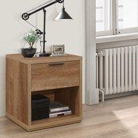 Stockwell Rustic Oak Wooden 1 Drawer Bedside Table