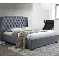 Balmoral Grey Velvet Fabric Winged Bed Frame - 4ft6 Double