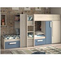 Barca Blue and Oak Wooden Bunk Bed Frame - EU Single