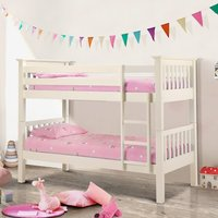 Barcelona Stone White Finish Solid Pine Wooden Bunk Bed Frame - 3ft Single