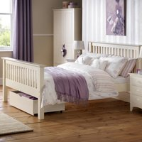 Solid Pine Wooden Bed Frame 4ft6 Double Barcelona High Foot End Stone White Finish
