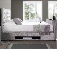 Barnard Silver Velvet Fabric TV Ottoman Storage Bed Frame - 4ft6 Double