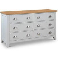 Richmond Grey and Oak 6 Drawer Wooden Wide Chest